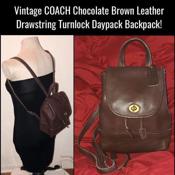 54cdd8f3fd880 Coach Handbags - Vtg COACH Leather Drawstring Turnlock Backpack!